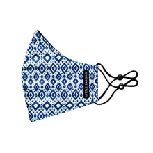 Load image into Gallery viewer, Side view of fabric reusable face mask in blue and white ikat weave design