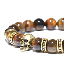 Load image into Gallery viewer, Antique Skull Tiger Eye Stabilizing Stretch Bracelet