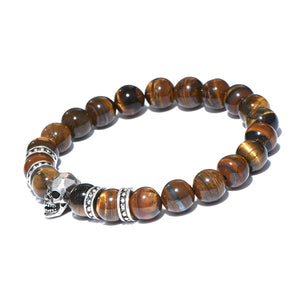 Antique Skull Tiger Eye Stabilizing Stretch Bracelet