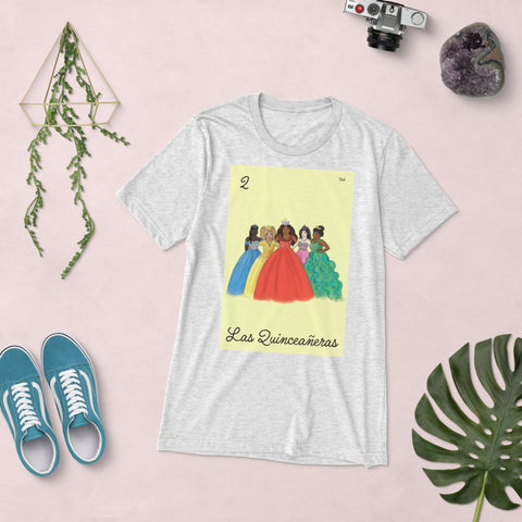 Image of NEW Las Quinceañeras - Unisex Tri-Blend Short sleeve T-Shirt