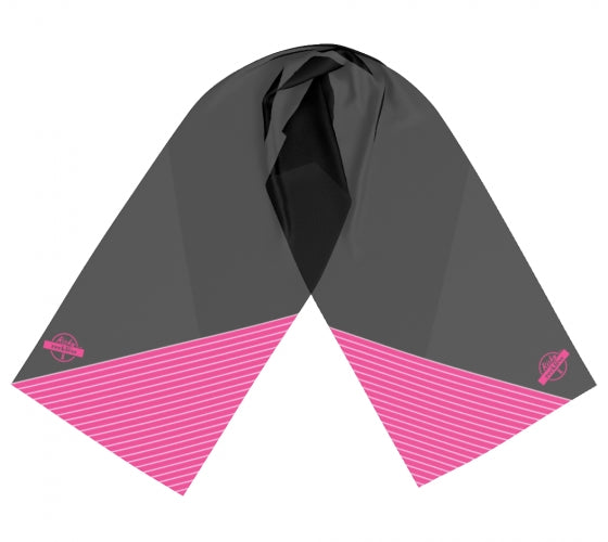 Scarf - Black w/Pink & White Lines