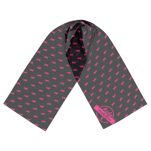 Polyester scarf made in Canada in support of the Alberta Cancer Foundation and breast cancer awareness.