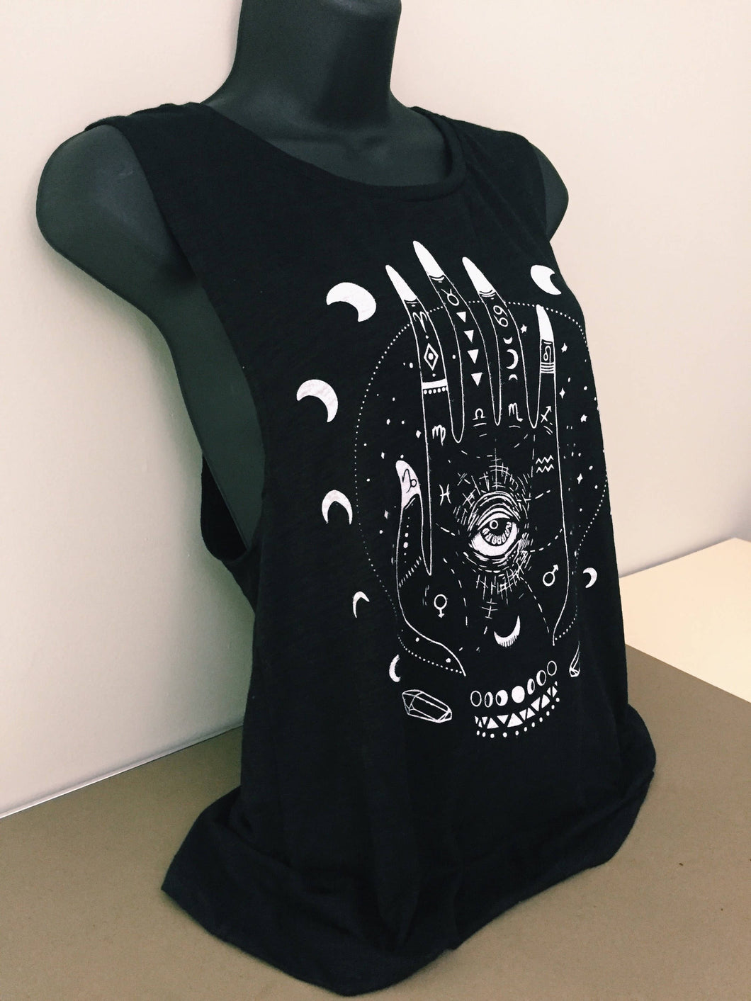 Divine Hand Muscle Tank - Moon Phase Astrology Symbol - Witchy Tank - Festival Clothing - Yoga Tank Top - Festival Tank Top - READY to SHIP