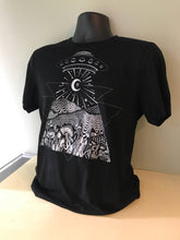 Load image into Gallery viewer, UFO Crew Neck Black Jersey Cotton Tee - Trippy Alien Festival Tee