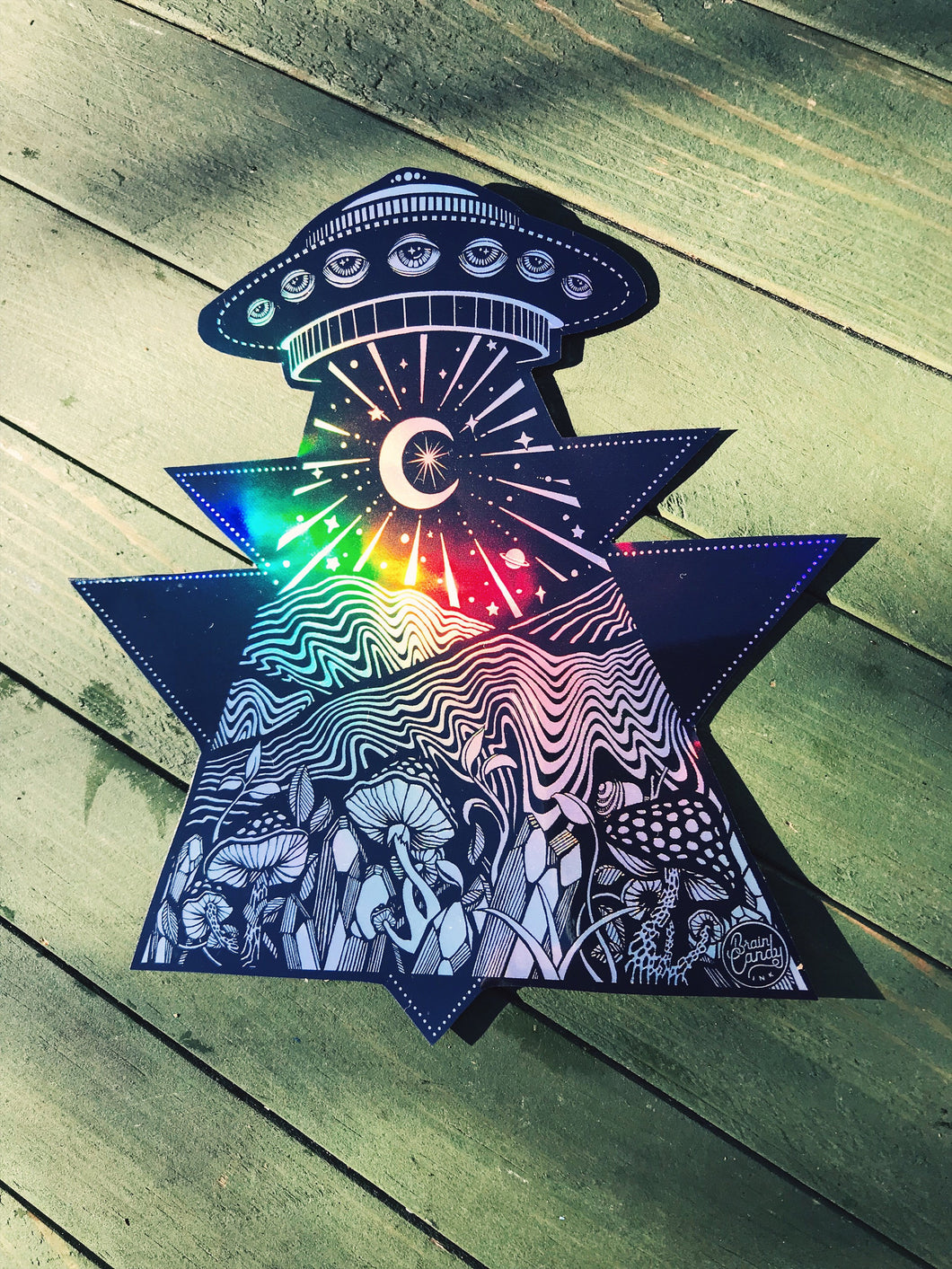 "Holographic Out of this World UFO Alien Mountain Mushroom Crystal -  Extra Large 5.5"" sticker"