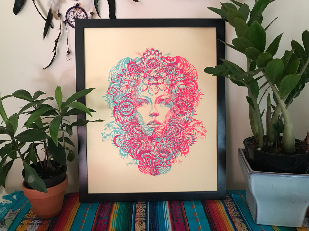 Glow in the Dark Flower Child Blacklight Silkscreen on Manila French Paper 16