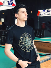 Load image into Gallery viewer, Glow in the Dark Zodiac Metatrons Cube Zodiac Astrology Crew Neck Jersey Cotton Tee