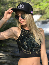 Load image into Gallery viewer, Glow in the Dark Sacred Geometry Festival Crop Top - Zodiac Astrology Metatron's Cube - Fitted Graphic Crop Top