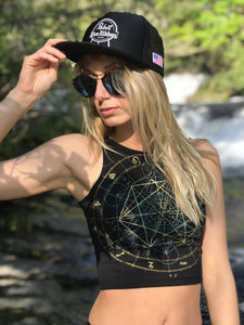 Glow in the Dark Sacred Geometry Festival Crop Top - Zodiac Astrology Metatron's Cube - Fitted Graphic Crop Top