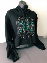 Load image into Gallery viewer, Sacred Geometry Crop Hoodie Glow in the Dark Zodiac Metatrons Cube Black Pullover Cropped Hoodie - MADE TO ORDER