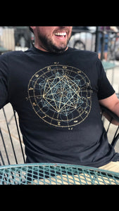 Glow in the Dark Zodiac Metatrons Cube Zodiac Astrology Crew Neck Jersey Cotton Tee