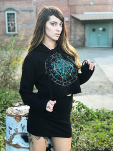 Sacred Geometry Crop Hoodie Glow in the Dark Zodiac Metatrons Cube Black Pullover Cropped Hoodie - MADE TO ORDER