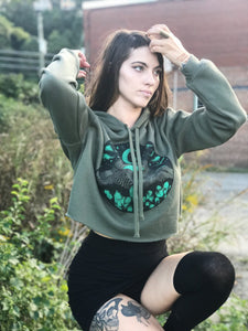 GLOW in THE DARK Appalachia Crop Hoodie  Army Green Pullover Cropped Hoodie