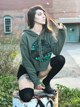 Load image into Gallery viewer, GLOW in THE DARK Appalachia Crop Hoodie  Army Green Pullover Cropped Hoodie