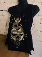 Load image into Gallery viewer, Serpent Tank -  Black Raw Edge Tank Top with Shimmery Gold