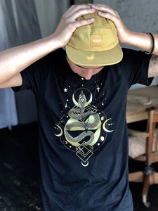 Sacred Serpent Unisex Crew Neck Tee - Black and Gold Shirt - Jersey Cotton Hand Printed Tee