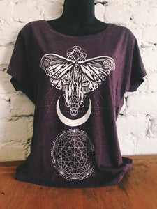 Sacred Moth Tee - Vintage Purple Charcoal Dolman Off the Shoulder Tee