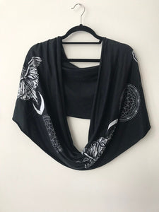 Sacred G Moth - Black and White Infinity Scarf - Festival Hood - Drapey shawl - Small version