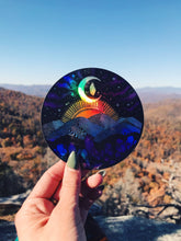 "Load image into Gallery viewer, Holographic Appalachia Mountain Range Asheville 4"" sticker"