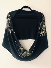 Load image into Gallery viewer, Serpent Black and Gold Infinity Scarf - Convertible Festival Hood - Drapey shawl -Small version