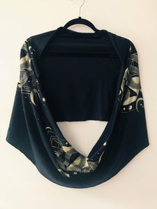 Serpent Black and Gold Infinity Scarf - Convertible Festival Hood - Drapey shawl -Small version