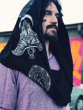 Load image into Gallery viewer, Sacred G Moth - Black and White Infinity Scarf - Festival Hood - Drapey shawl - Small version