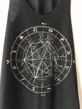 Load image into Gallery viewer, GLOW in the DARK Sacred Geometry Raw Edge Black Racer Back Tank