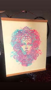 "Glow in the Dark Flower Child Blacklight Silkscreen on Manila French Paper 16"" x 20"""