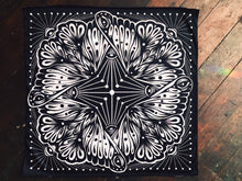 "Load image into Gallery viewer, Moth Black and White Bandana - 22"" X 22"" Black and White Pattern Bandana - Limited Edition"