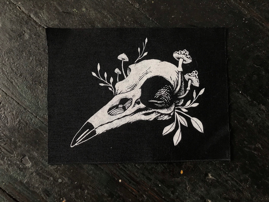 "Bird Skull patch - 6"" x 8"" Canvas Sew on Patch"