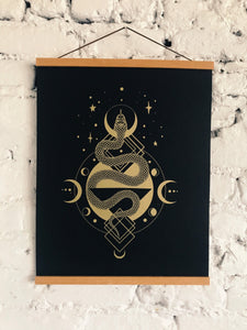 "Serpent Gold Silkscreen on Black Licorice French Paper 16"" x 20"" - Limited Edition Print"