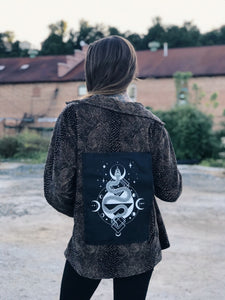 One of a Kind Unisex Velvet Snake Skin Jacket with Hand sewn Serpent Patch