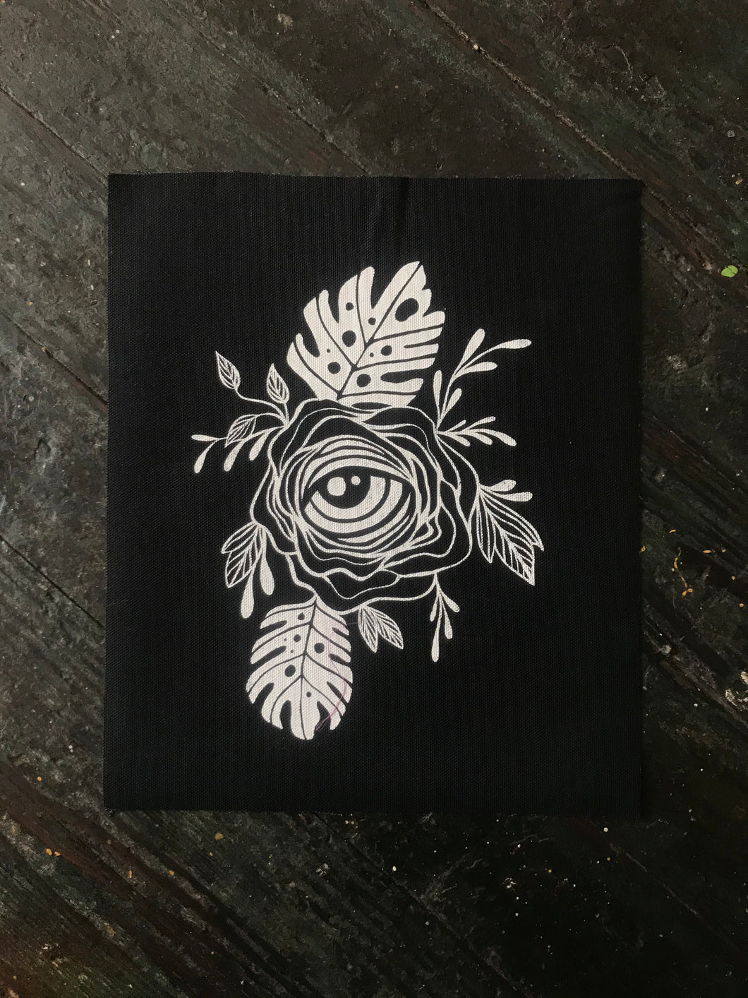 "Eyeball Flower 10""x 12"" Canvas Sew on Patch"