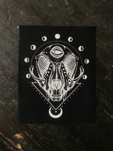 "Cat Skull 12""x 15"" Canvas Sew on Patch"