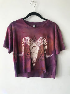 One of a Kind Ram Skull Hans dyed Limited Edition Purple Crop Tee