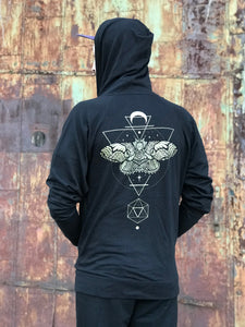 Sacred Geometry Moth Hoodie - Unisex Limited Edition Zip Up- Black & Gold