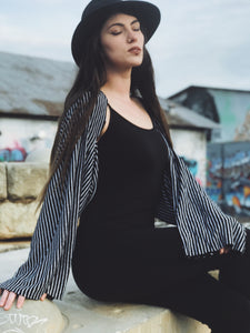 Black and White Stripe Bell Sleeve Shrug Hybrid