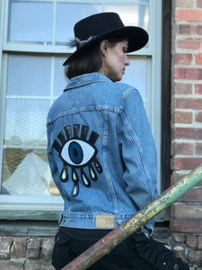One of a Kind Jean Jacket with Hand Sewn Sequin Eye Patch