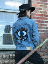 Load image into Gallery viewer, One of a Kind Jean Jacket with Hand Sewn Sequin Eye Patch