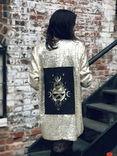 Load image into Gallery viewer, One of a Kind Gold Sequin Jacket with Serpent Patch
