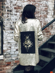 One of a Kind Gold Sequin Jacket with Serpent Patch