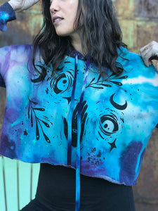 Medium One of a Kind Moon Child Hand Dyed Cropped Hoodie with Glow in the Dark stars - Size Medium