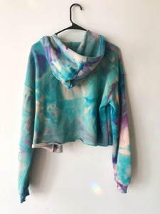 Large One of a Kind Octopus Hand Dyed Cropped Hoodie  - Size Large