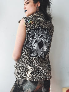 Animal Print Tiger Faux Fur Leopard Vest - Large