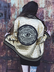 All Seeing Eye Metallic Gold Bomber Jacket Unisex - Medium
