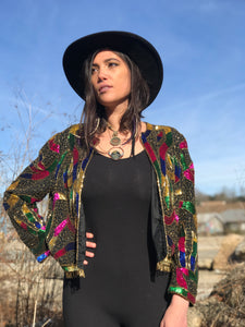 Beaded Serpent Silk Blazer - Medium