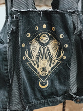 Load image into Gallery viewer, Cat Skull Fishnet Denim Vest - Size Xlarge