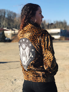 Animal Print Faux Fur Cat Skull Unisex Zip Up Jacket