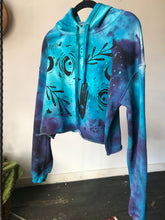Load image into Gallery viewer, Moon Child Dyed Glow in the Dark Crop Hoodie - Size Small