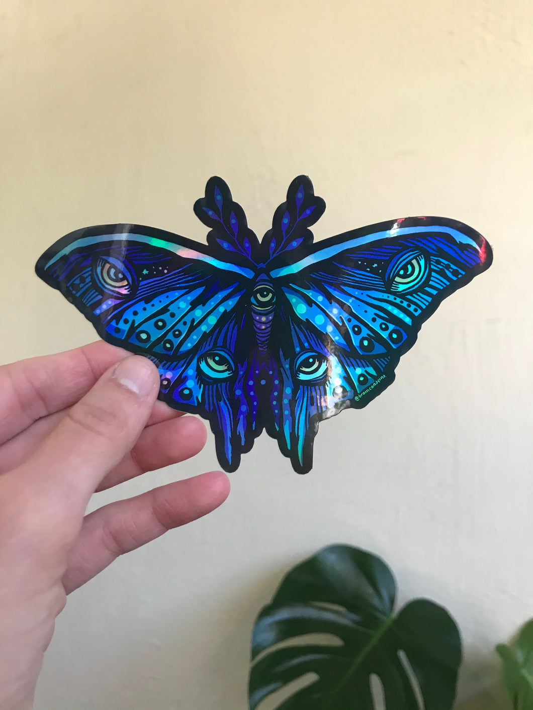 Moth Holographic Sticker